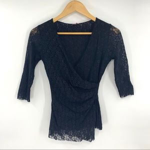 Sweet Pea by Stacy Frati Blouse Lace Wrap Shirt